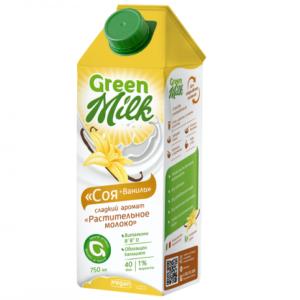 Напиток соевый с ванилью,750 мл (Green Milk)