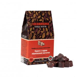 Конфеты шоколадные Курага с ядром абрикосовой косточки, 160 г (Пища Богов)