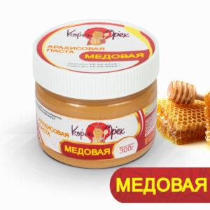 Арахисовая паста медовая, 300 г (Король Орех)