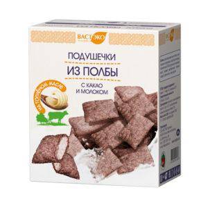 Подушечки из полбы с какао и молоком, 200гр (Вастэко)