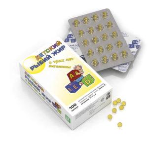 Рыбий жир детский с витаминами, 100 капс*166,7 мг (Real Caps)