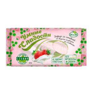 Зефир со стевией Клубника со сливками, 50 гр (Умные сладости)