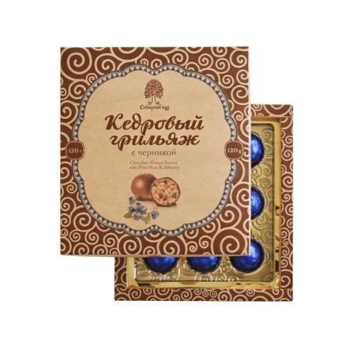 Конфеты Кедровый грильяж с черникой, 120 г (Сибирский кедр)