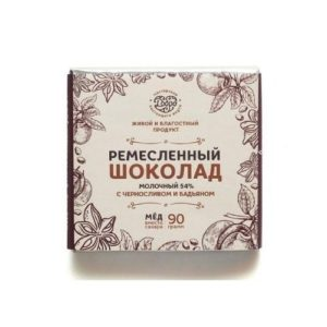 Шоколад молочный 54% какао на меду с черносливом и бадьяном, 90 г (Мастерская Добро)