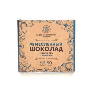 Шоколад горький 72% на меду со сладким миндалём, 90 г (Мастерская Добро)