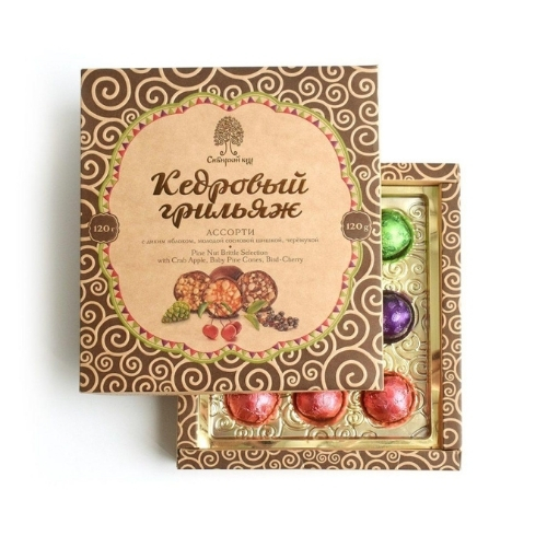 Конфеты Кедровый грильяж ассорти, 120 г (Сибирский кедр)