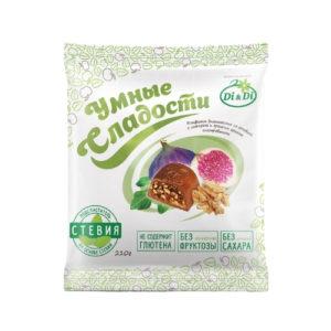 Конфеты Инжир с грецким орехом в шоколадной глазури, 210 г (Умные сладости)
