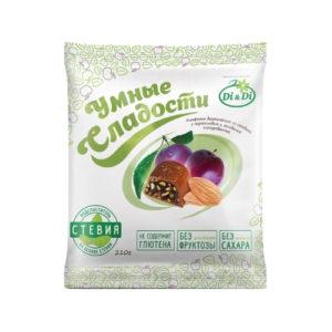 Конфеты Чернослив с миндалём в шоколадной глазури, 210 г (Умные сладости)