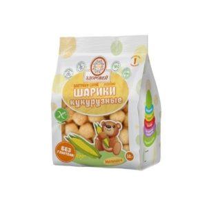 Завтраки сухие шарики кукурузные без добавок, 30 г (Здоровей)